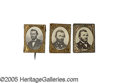 Political:Ferrotypes / Photo Badges (pre-1896), Three Different 1868 Ulysses S. Grant Campaign Pins, All inBeautiful Condition. A different pose of Grant on each. One has ...(Total: 3 )