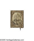 Political:Ferrotypes / Photo Badges (pre-1896), 1868 Grant & Colfax Jugate Photo Pin. An attractive examplefrom the Joe Brown Collection, with names above conjoinedbu...
