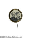 Political:Ferrotypes / Photo Badges (pre-1896), Magnificent, Very Choice 1868 Seymour & Blair Jugate Ferrotype Pin. Very desirable variety, with conjoined busts on a large ...