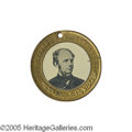 Political:Ferrotypes / Photo Badges (pre-1896), Seymour & Blair Ferrotype Medallion 28mm. Sullivan-DeWittHC-1868-22A in gilt brass. This mint condition back-to-backferro...