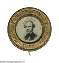 Political:Ferrotypes / Photo Badges (pre-1896), Seymour Single Picture Ferro Pin 25mm. Sullivan-DeWitt HS-1868-68in gilded brass. This 1868 campaign badge has a rather y...