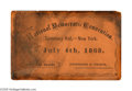 Political:Small Paper (pre-1896), Extremely Rare 1868 New York Democratic National Convention Ticketheld at Tammany Hall in New York City. We are quite certa...