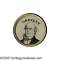 Political:Ferrotypes / Photo Badges (pre-1896), Absolutely Awesome, Huge 1872 Horace Greeley Ferrotype. This choicebeauty from the Joe Brown Collection is particularly...
