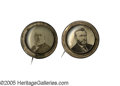 Political:Ferrotypes / Photo Badges (pre-1896), Matched Pair of 1872 Horace Greeley and Ulysses S. Grant PortraitPins. This choice pair comes from the Joe Brown Collecti...