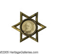 Political:Ferrotypes / Photo Badges (pre-1896), Tough 1872 Horace Greeley Cardboard Portrait Pin. This classicbrass six-pointed star frame was used for both candidates in ...