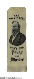 Political:Ribbons & Badges, Great 1876 Rutherford B. Hayes Woven Campaign Ribbon, To Be Worn by Civil War Veterans. While their support was, by no means...