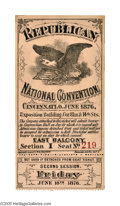 Political:Small Paper (pre-1896), Superb 1876 Cincinnati Republican National Convention Ticket. Agorgeous and extremely rare ticket, with one stub still atta...