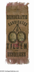 Political:Ribbons & Badges, Most Unusual, Unlisted 1876 Tilden & Hendricks Jugate Ribbon Pre-1880 jugate ribbon varieties are really comparatively few i...