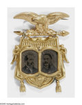 Political:Ferrotypes / Photo Badges (pre-1896), Very Rare 1880 Garfield & Arthur Ferrotype Jugate Pin; ABeautiful Example. While the cardboard-picture Garfield &Arthur ju...