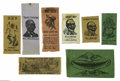 "Political:Ribbons & Badges, Remarkable Set of Eight Satirical Put-Down Ribbons From the 1880 Election, one of the ""Signature"" items from the Joe Brown... (Total: 8 )"