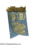 Political:Ribbons & Badges, Very Choice 1880 Garfield & Arthur Jugate Badge. Brass shell pinback hanger at top in form of a canal boat, much touted in ...