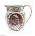 Political:3D & Other Display (pre-1896), Stunning Multicolor 1881-Dated James A. Garfield Queensware Pitcherby Wedgwood. Universally acclaimed as one of the most be...