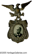 Political:Ferrotypes / Photo Badges (pre-1896), Awesome, Pristine 1880 Winfield Scott Hancock Ferrotype Badge. Anunimprovable example of this sought-after, fancy variety. ...