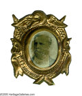 Political:Ferrotypes / Photo Badges (pre-1896), Rare 1880 Winfield Scott Hancock Ferrotype in Fancy Frame. Like allHancock portrait badges, a very tough item. In great con...