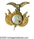 """Political:Ferrotypes / Photo Badges (pre-1896), Rare """"Fancy"""" 1880 Winfield Scott Hancock Ferrotype Pin. A choiceexample for this tough candidate, with one of the most appe..."""