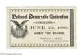Political:Small Paper (pre-1896), Very Rare 1880 Cincinnati Democratic Convention Ticket. Yet anothersensational convention ticket we've never had before! Th...