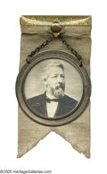 Political:Ribbons & Badges, Magnificent, Huge James G. Blaine Image on Glass. Essentially one of the last ambrotypes, the photo emulsion was actually ...