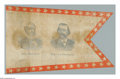 Political:Textile Display (pre-1896), Rare 1884 Blaine & Logan Jugate Cloth Flag / Banner. A great,large red, white, and blue jugate banner with wonderful displa...