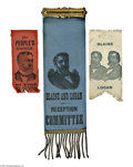Political:Ribbons & Badges, Three Fine 1884 James A. Blaine Ribbons, in Exceptional Condition. While Blaine ribbons are fairly numerous in variety and n... (Total: 3 )