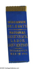 Political:Ribbons & Badges, Very Rare and Significant Delegate's Ribbon from the 1884 Greenback Labor National Convention, which Nominated Ben Butler for...