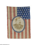 Political:3D & Other Display (pre-1896), Colorful 1884 Grover Cleveland Flag Banner Although Cleveland ran three times, this item can be attributed to 1884 because a...