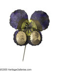 "Political:Ferrotypes / Photo Badges (pre-1896), Colorful ""Pansy"" 1888 Harrison & Morton Jugate Pin in MintCondition. This distinctive design in the form of a purpleflower..."