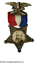 Political:Ferrotypes / Photo Badges (pre-1896), Choice 1888 or 1892 Benjamin Harrison Photo Badge. It is difficultto find this showy variety with red, white & blue ribbon ...