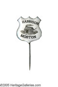 Political:Ferrotypes / Photo Badges (pre-1896), Virtually Pristine 1888 Benjamin Harrison Enameled Shield StickPin. These enameled pins are highly collectible, and difficu...