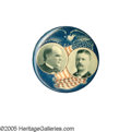 """Political:Pinback Buttons (1896-present), Rich, Superb Red, White, and Blue 1900 McKinley & Roosevelt Jugate Button. If any button design ever deserved to be called """"..."""