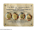 "Political:Advertising, 1896 J. H. Shaw Campaign Buttons and Display Card. This sample cardholds four 3/4"" campaign lapel studs from the 1896 elect..."
