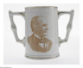 Political:3D & Other Display (1896-present), Bryan McKinley Rare Two-Handled Mug is the center piece to any 3-Dcollection. This near mint example shows minimal wear and...
