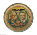 """Political:3D & Other Display (1896-present), Rare Variety of 1900 McKinley & Roosevelt Litho Tin Tray. Smaller than the other varieties at 10"""" in diameter, this on is, n..."""