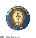"Political:Pinback Buttons (1896-present), One of the Most Desired William Jennings Bryan Button Rarities: the""Ohio Horseshoe"". This legendary design appeared on a sm..."