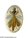"Political:Pinback Buttons (1896-present), Classic Large William Jennings Bryan ""Ear of Corn"" Pinback. One ofthe best known and most beloved of button designs, it is ..."