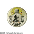"""Political:Pinback Buttons (1896-present), Rare Full-Color 1900 William Jennings Bryan 1 1/4"""" """"Eclipse"""" Button. This popular concept was used on several different desi..."""