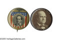 """Political:Pinback Buttons (1896-present), Two Choice 1 1/4"""" 1908 William Jennings Bryan Buttons. Both are from the Pearl Kimbrough Collection, and the """"Let the Pe..."""
