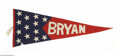 Political:Textile Display (1896-present), Most Unusual William Jennings Bryan Felt Pennant. The blue and redsections are sewn together, and each star and letter is i...