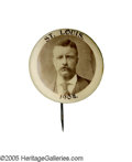 """Political:Pinback Buttons (1896-present), Rare 1 1/4"""" Theodore Roosevelt Pinback- Undoubtedly a Souvenir of the 1904 St. Louis World's Fair. T.R. was a great backer o..."""