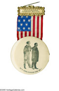 """Political:Ribbons & Badges, Classic Large 1905 Badge Featuring Theodore Roosevelt With Uncle Sam. """"He's good enough for me!"""" declares Uncle Sam on the 3..."""