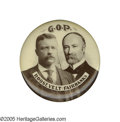 """Political:Pinback Buttons (1896-present), Choice Large 1904 Roosevelt & Fairbanks Jugate Button. This 1 3/4"""" variety almost always seems to come with some stains or m..."""