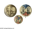 """Political:Pinback Buttons (1896-present), Three Nice 1904 Roosevelt & Fairbanks Jugate Pins. Two 1 1/4"""" and one 7/8"""", as shown. All in excellent condition save for a ..."""