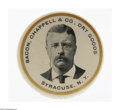 "Political:Advertising, Striking Theodore Roosevelt Pocket Mirror With Store Advertising.""Crossover"" items like this have great appeal both to pock..."