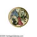 "Political:Pinback Buttons (1896-present), Dramatically Different Multicolor 1904 Parker & Davis JugateRarity. This 1 1/4"" gem has got to be one of the very best juga..."