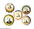 """Political:Pinback Buttons (1896-present), Five 1 1/4"""" Alton B. Parker Pinback Buttons. Here are five handsome 1 1/4"""" pinback buttons from Parker's 1904 campaign for p... (Total: 5 )"""