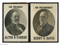 Political:Posters & Broadsides (1896-present), A Pair of Large 1904 Campaign Posters For Alton Parker and Henry Davis, Who Were Defeated by Teddy Roosevelt. Large display ...