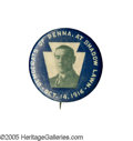 Political:Pinback Buttons (1896-present), One of the Nicest Woodrow Wilson Single-Portrait Button Designs. This rare variety featuring the Pennsylvania Keystone has l...