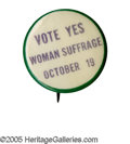 """Political:Pinback Buttons (1896-present), Extremely Rare 1 1/4"""" Woman's Suffrage Pinback. We have never handled this purple, green, and white variety before. Excellen..."""
