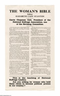 "Political:Posters & Broadsides (1896-present), Religious Themed Suffrage Broadside. Elizabeth Cady Stanton wrote ""The Woman's Bible"" as a direct challenge to the religious..."