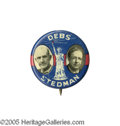"Political:Pinback Buttons (1896-present), Key 1920 Debs & Stedman 7/8"" Jugate. From the last of Debs'five presidential runs (he was incarcerated at the time for his ..."