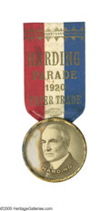 """Political:Ribbons & Badges, Spectacular and Unique Large 1920-Dated Harding """"Paper Trade"""" Parade Badge. Perhaps its one-day-event use explains its rarit..."""